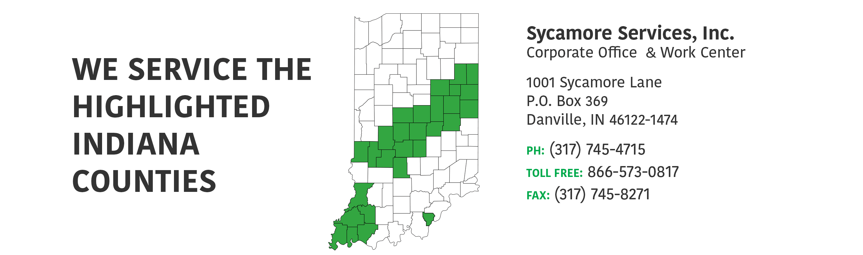 Indiana Services areas map